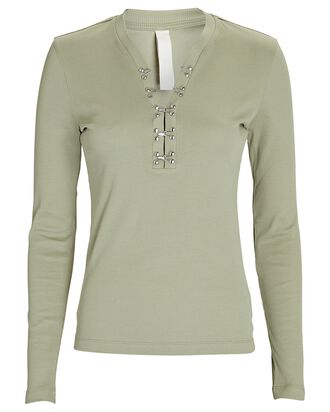 Cotton Rib Hook Henley Top, PALE GREEN, hi-res