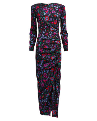 Selena Floral Ruched Dress, BLACK/FLORAL, hi-res