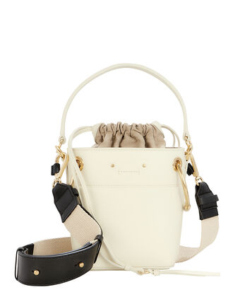 Roy Mini Leather Bucket Bag, WHITE, hi-res