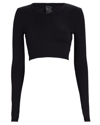 Caddie Long Sleeve Crop Top, BLACK, hi-res