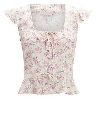 Iris Silk Tie Front Floral Top, BLUSH, hi-res