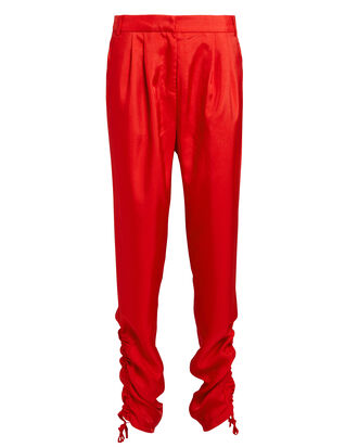 Red Shirred Pants, RED, hi-res