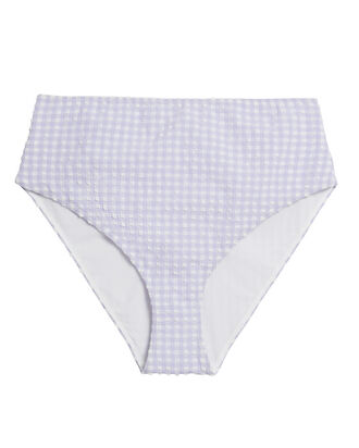High Waist Seersucker Bikini Bottoms, PURPLE/WHITE, hi-res