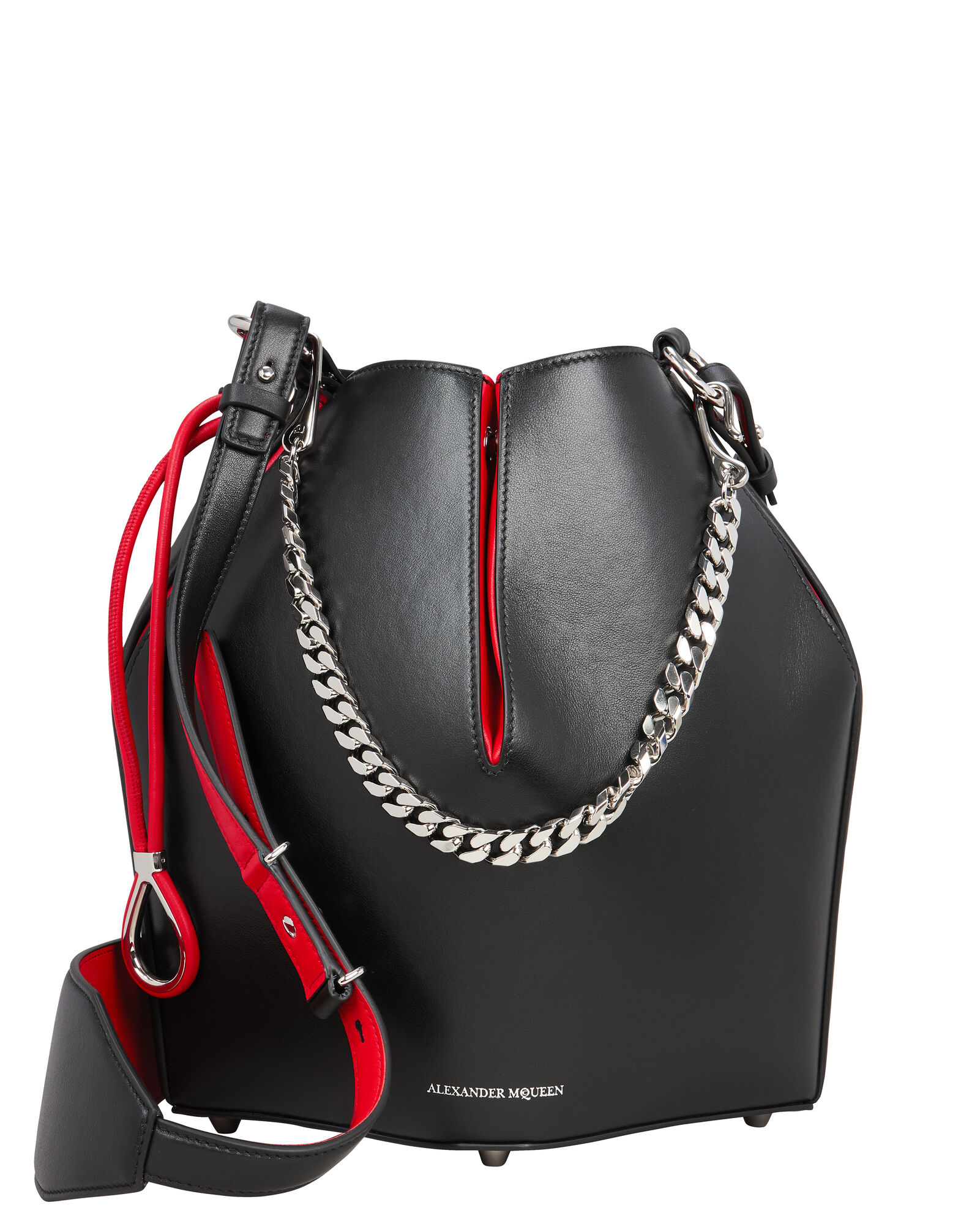 Black Leather Bucket Bag, BLACK, hi-res