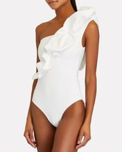 Elena Ruffled One-Shoulder Swimsuit, WHITE, hi-res