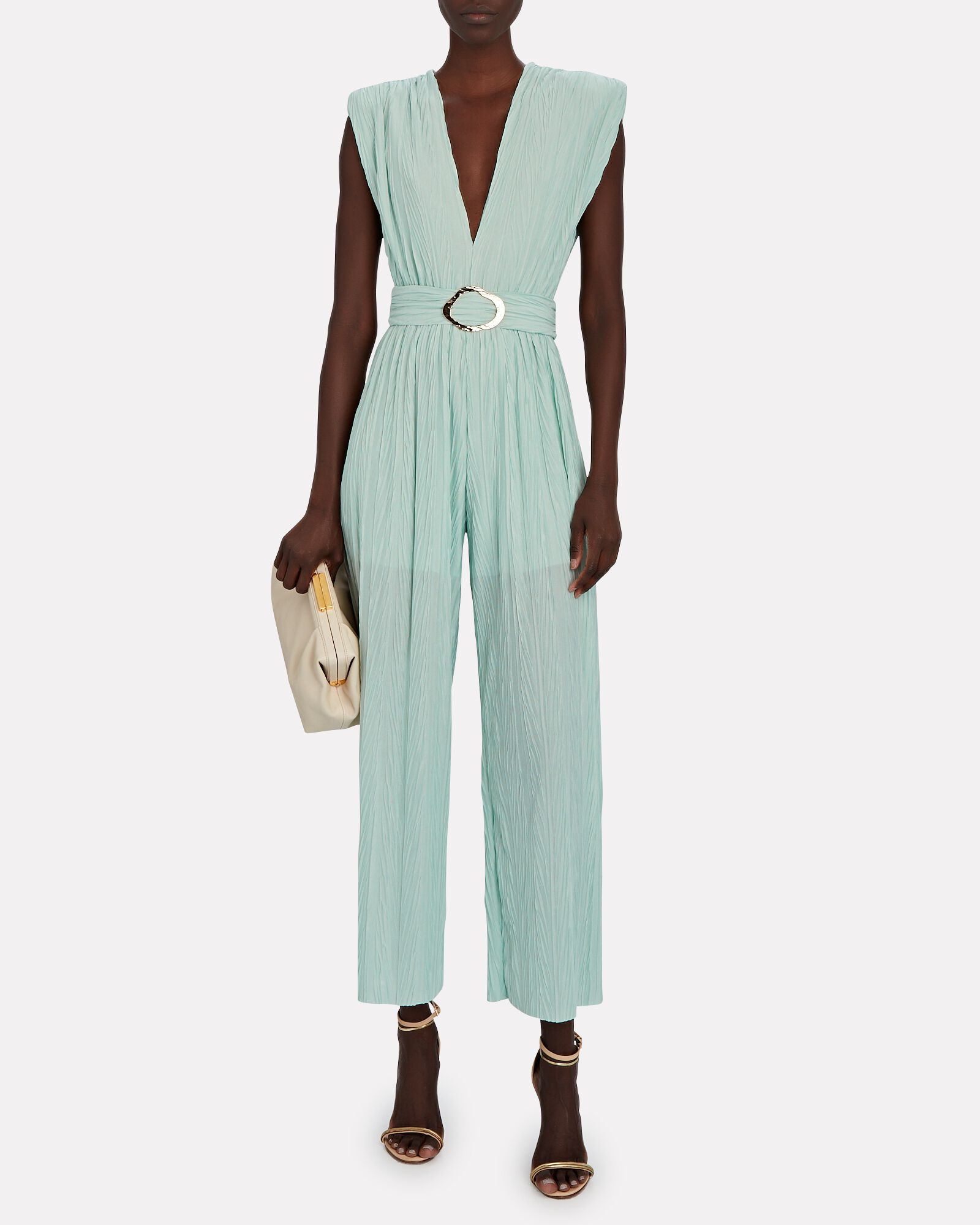 Galliano Belted Sleeveless Jumpsuit, GREY-LT, hi-res