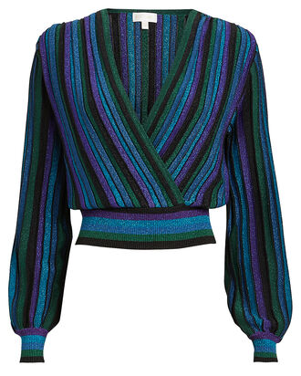 Johanna Metallic Striped Knit Top, BLUE/STRIPE, hi-res