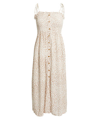 Suki Midi Dress, BEIGE FLORAL, hi-res