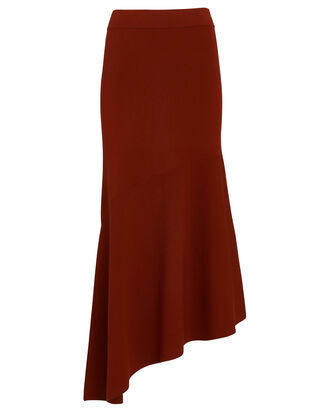 Jasper Asymmetrical Knit Midi Skirt, RED-DRK, hi-res