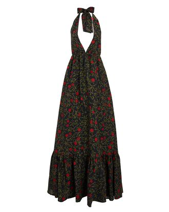 Olivia Floral Halter Maxi Dress, BLACK, hi-res
