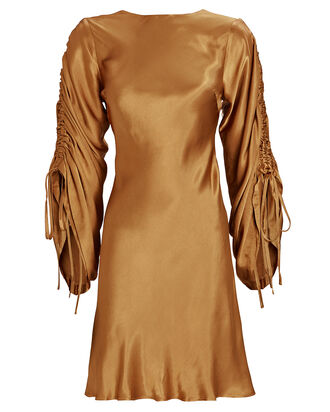 Wright Ruched Sleeve Mini Dress, GOLD, hi-res