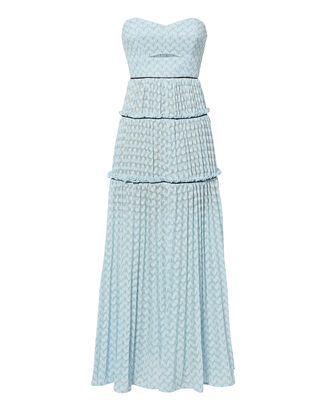 Bandeau Chevron Knit Maxi Dress, BLUE-LT, hi-res