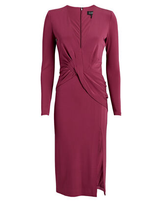 Twisted Jersey Midi Dress, RASPBERRY, hi-res