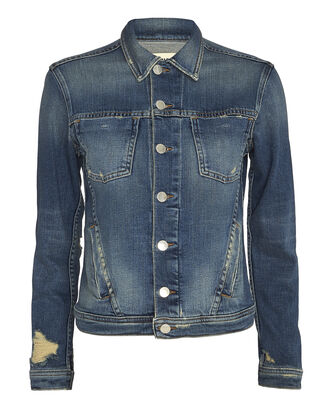 Celine Femme Distressed Denim Jacket, DENIM, hi-res