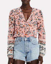 Lowell Floral Silk Blouse, LIGHT PINK, hi-res