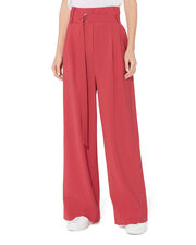 Paperbag Wide Leg Trousers, RED, hi-res