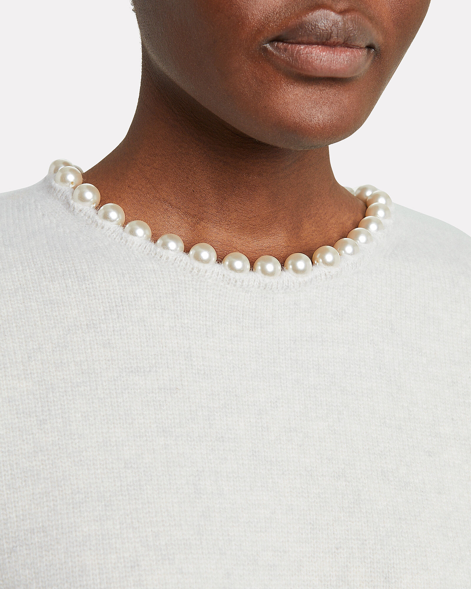 Pearl Necklace Wool-Cashmere Sweater, IVORY, hi-res