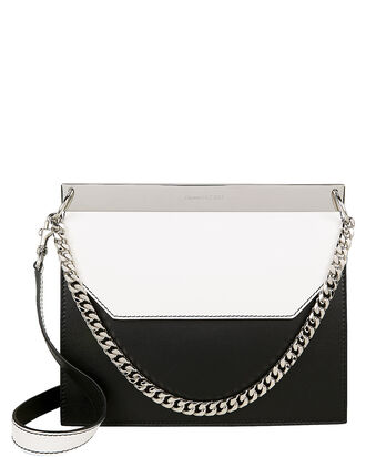 Drop Chain Shoulder Bag, BLK/WHT, hi-res