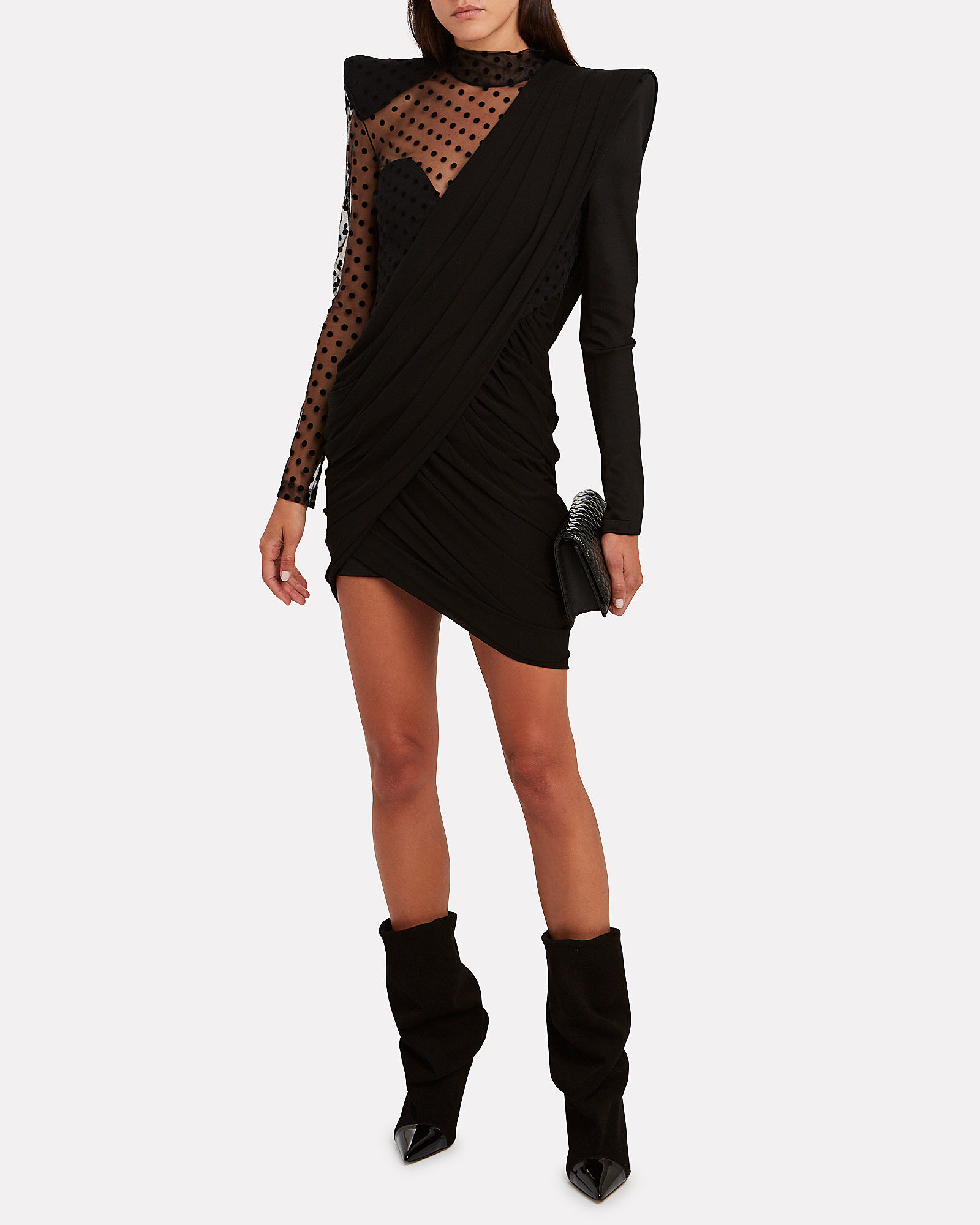Asymmetric Swiss Dot Mini Dress, BLACK, hi-res