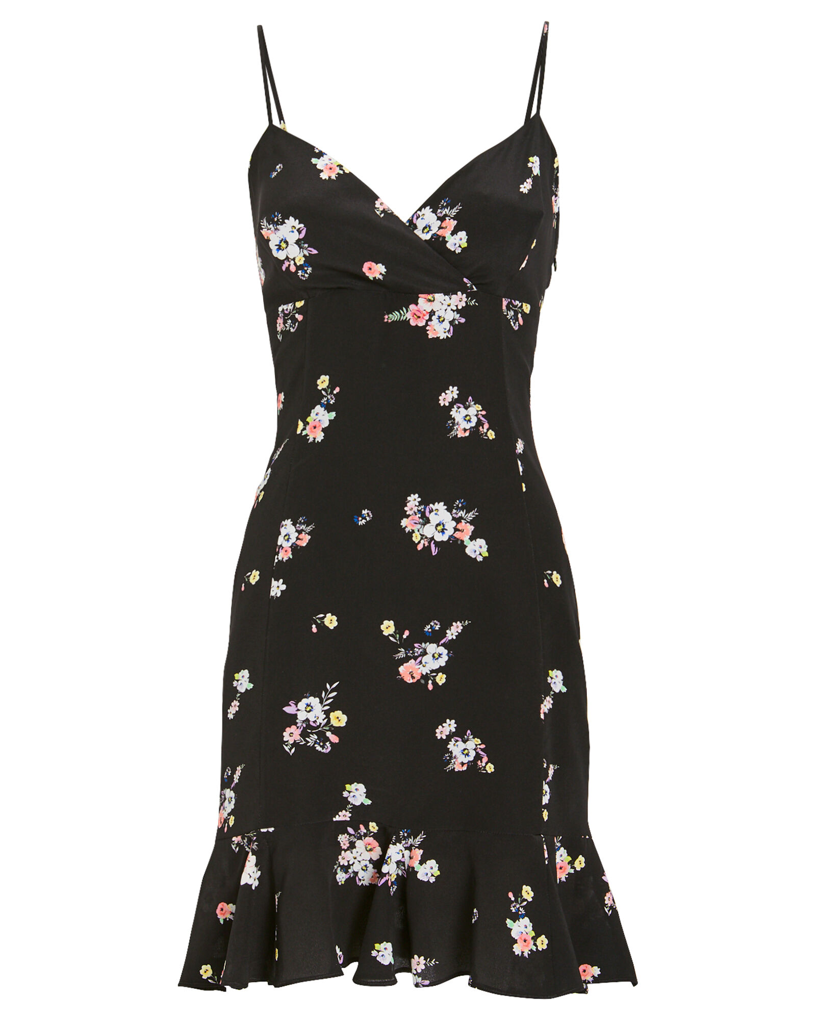 Monique Silk Printed Mini Dress, BLACK, hi-res