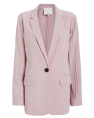 Striped Oversized Blazer, DUSTY PINK, hi-res