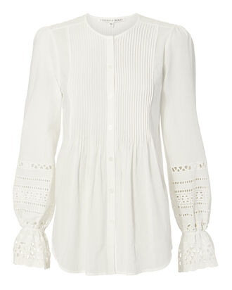 Mili Eyelet Top, WHITE, hi-res