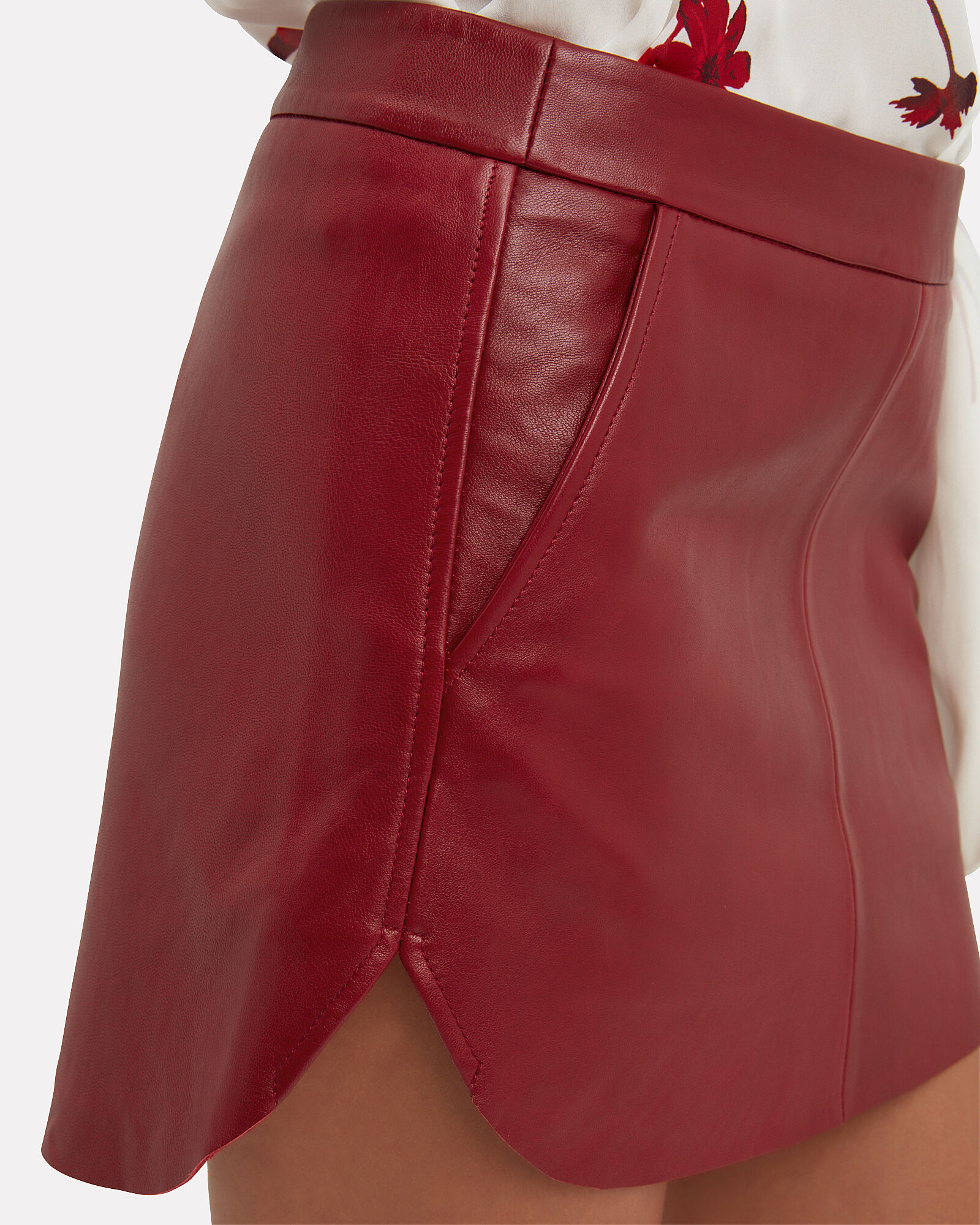 Baseball Hem Red Leather Mini Skirt, RED, hi-res