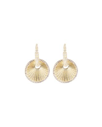Claw Pavé Disc Drop Earrings, GOLD, hi-res