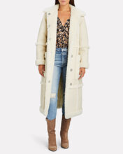 Patrice Faux Shearling-Trimmed Coat, IVORY, hi-res