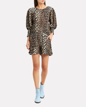Leopard Print Puff Sleeve Top, BROWN/BLACK, hi-res