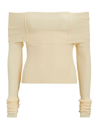 Anechka Rib Knit Off-The-Shoulder Top, IVORY, hi-res