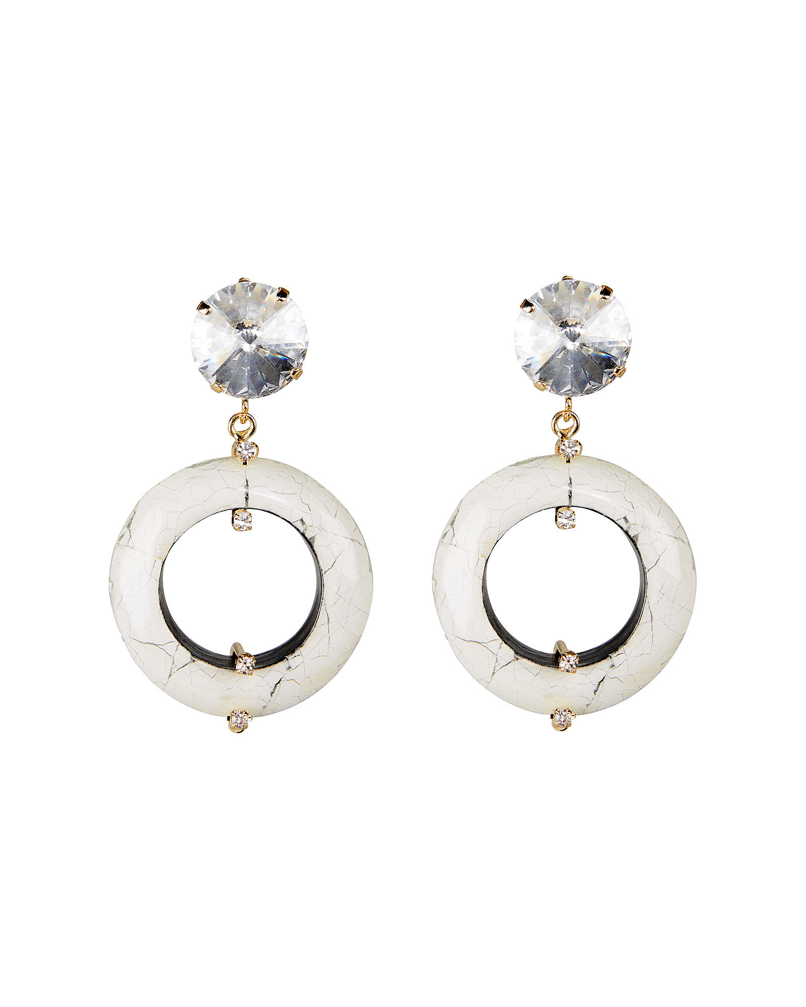 Olimpo Marbled Ring Earrings, WHITE, hi-res
