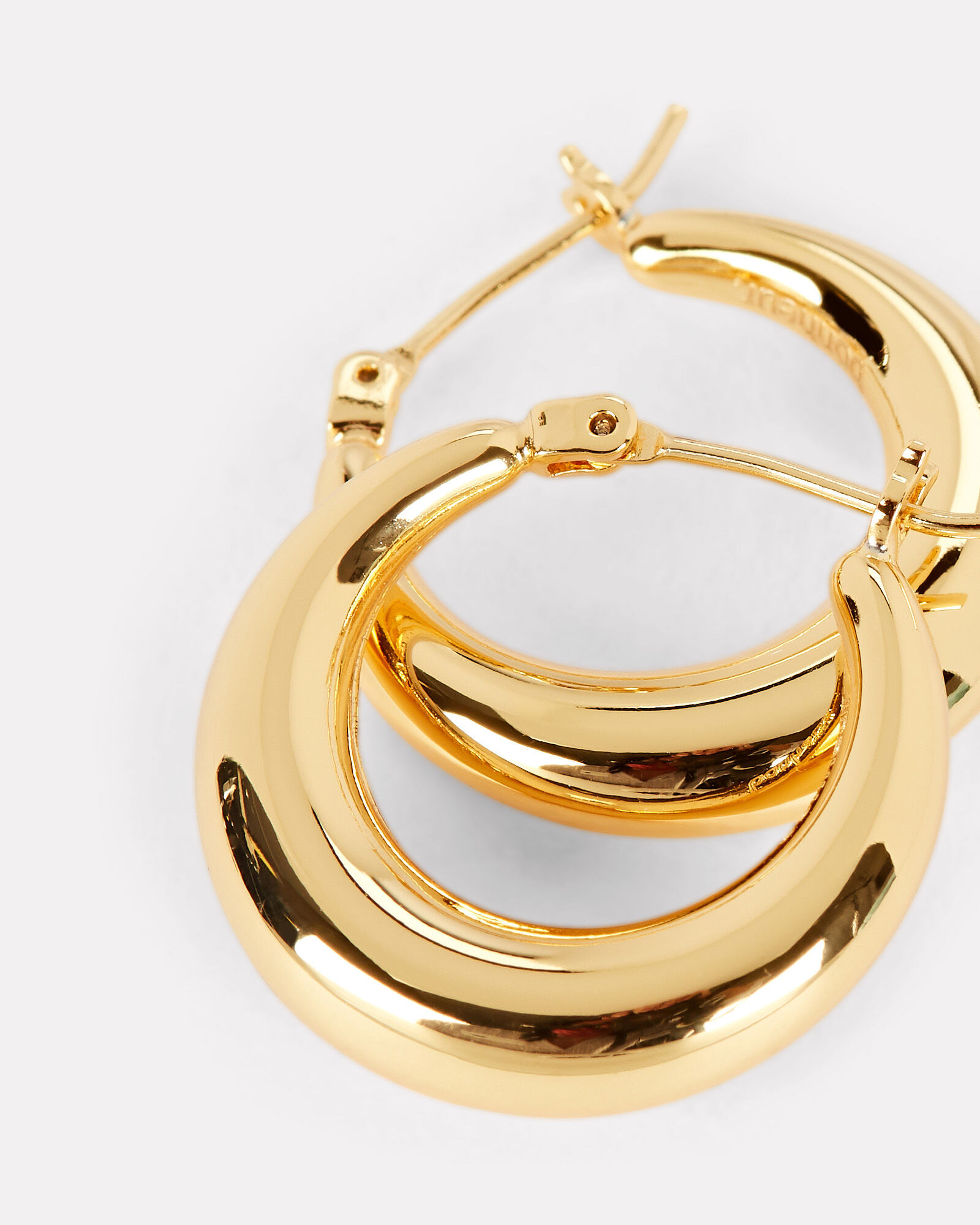 Gold Puffy Hoop Earrings, GOLD, hi-res