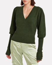 Esme Puffed Sleeve Merino Wool Sweater, GREEN, hi-res
