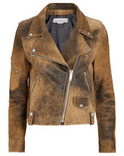 Hanna Distressed Leather Moto Jacket, BROWN, hi-res