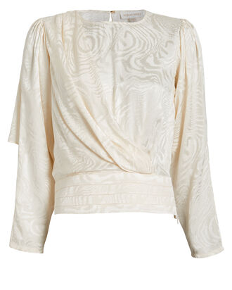 Monet Moiré Satin Blouse, IVORY, hi-res