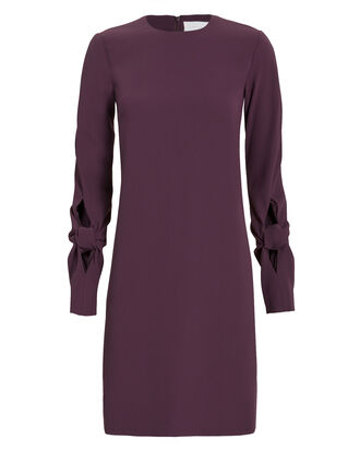 Knotted Sleeve Crepe Dress, PURPLE-DRK, hi-res