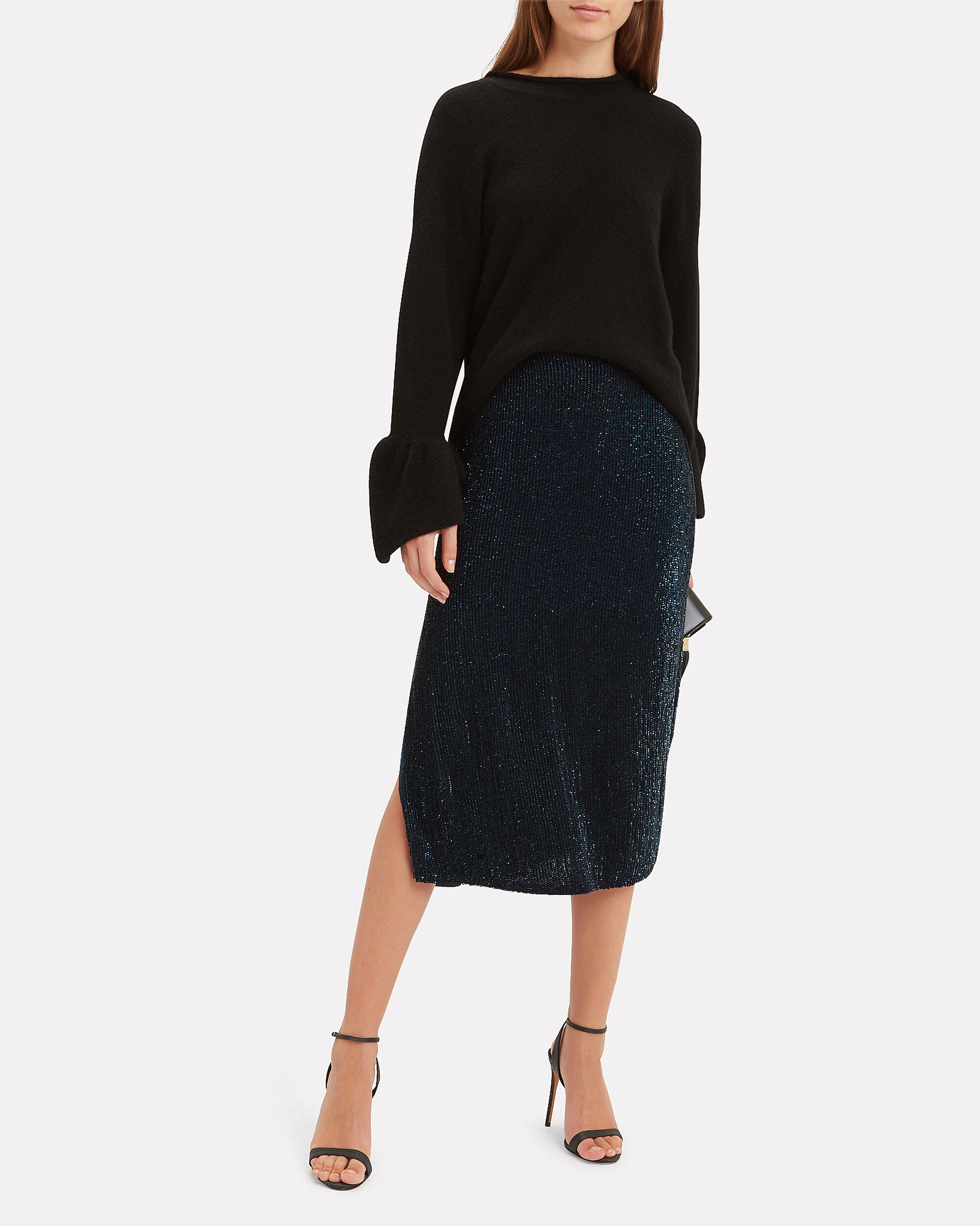 Veronica Sequin Midi Skirt, NAVY, hi-res