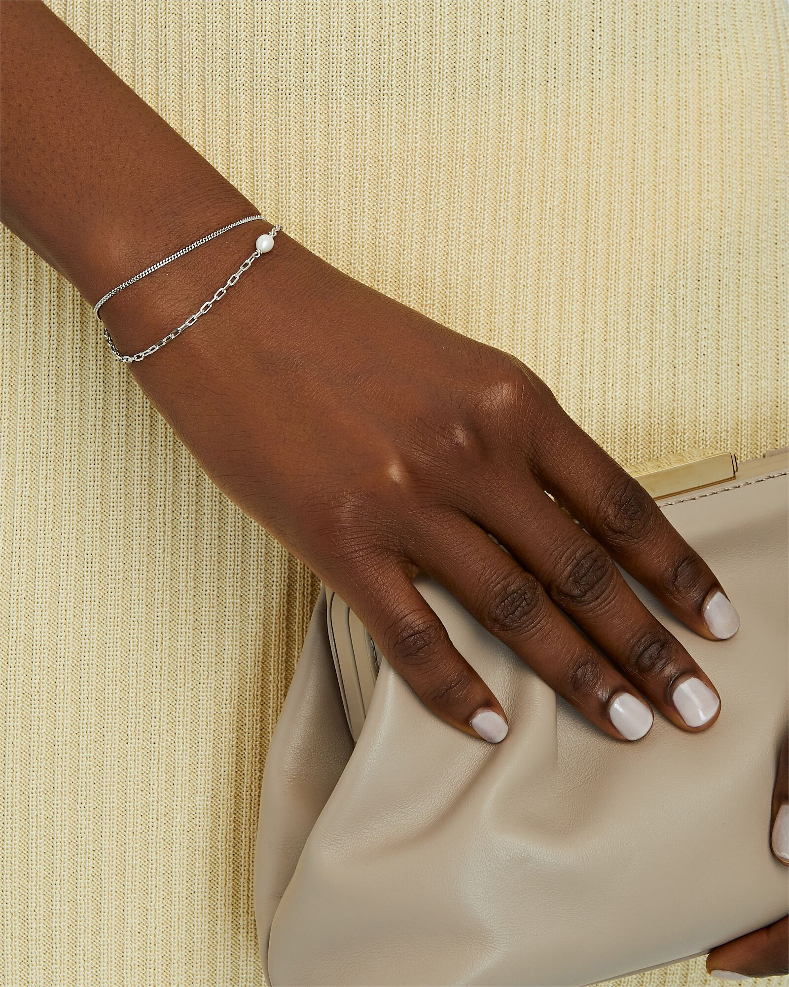 Cantare Pearl Chain-Link Bracelet, SILVER, hi-res