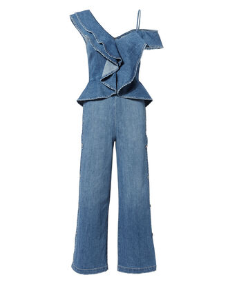 Ruffled Denim Wide Leg Jumpsuit, DENIM, hi-res