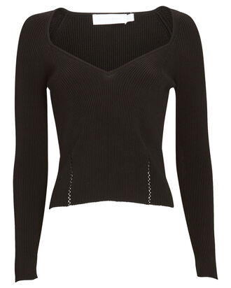 Elle Rib Knit Bustier Top, BLACK, hi-res
