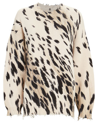 Distressed Cheetah Print Sweater, BEIGE/BLACK, hi-res