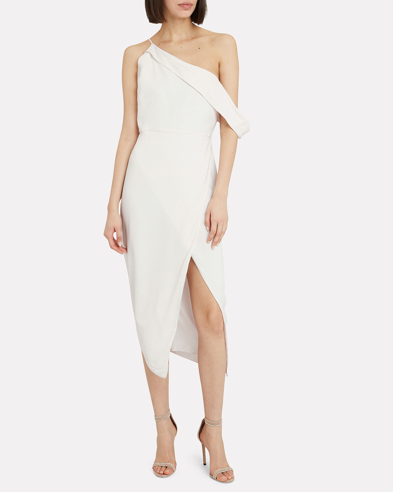One-Shoulder Draped Silk Dress, WHITE, hi-res