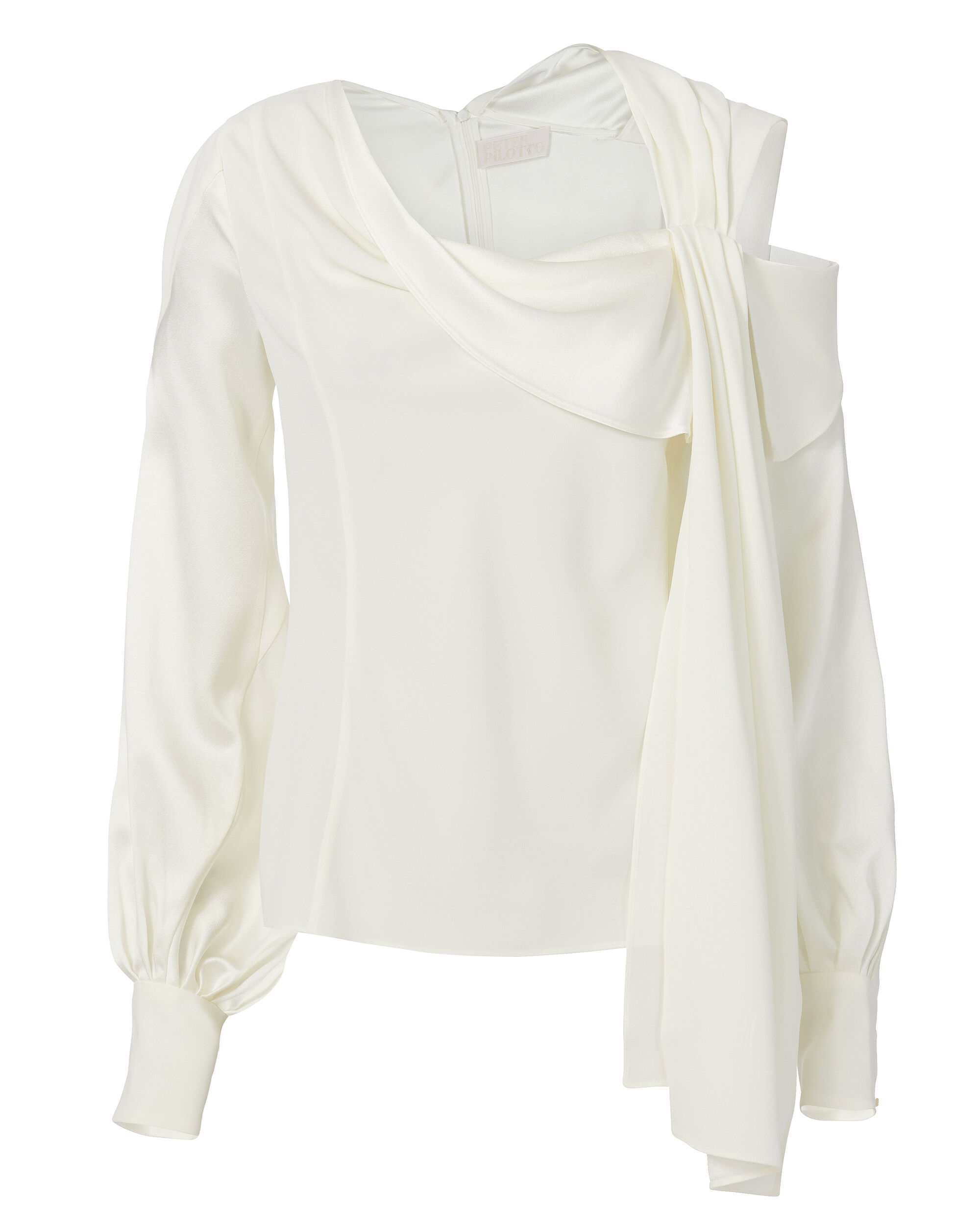 Cady Satin Drape Top, WHITE, hi-res