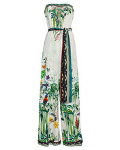 Printed Silk Strapless Jumpsuit, IVORY/GREEN, hi-res