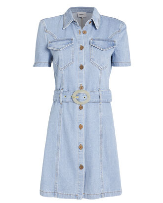 Mora Belted Denim Shirt Dress, LIGHT WASH DENIM, hi-res