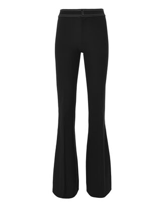 Topstitch Flare Pants, BLACK, hi-res