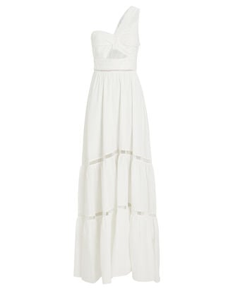 Piper Cotton One-Shoulder Dress, WHITE, hi-res