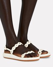Clio Leather Flat Sandals, WHITE, hi-res