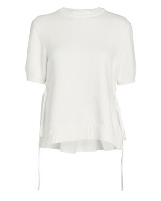 Crewneck Poplin Back Sweater, WHITE, hi-res